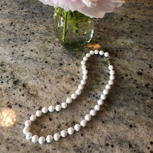 Real GOLD, MONET White Glass Bead Necklace 1960's